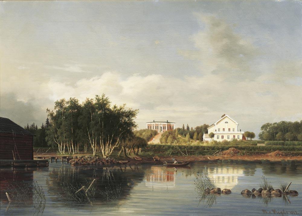 Magnus von Wright, Honkolan kartano, 1867, öljy kankaalle. Kuva: Seppo Hilpo.