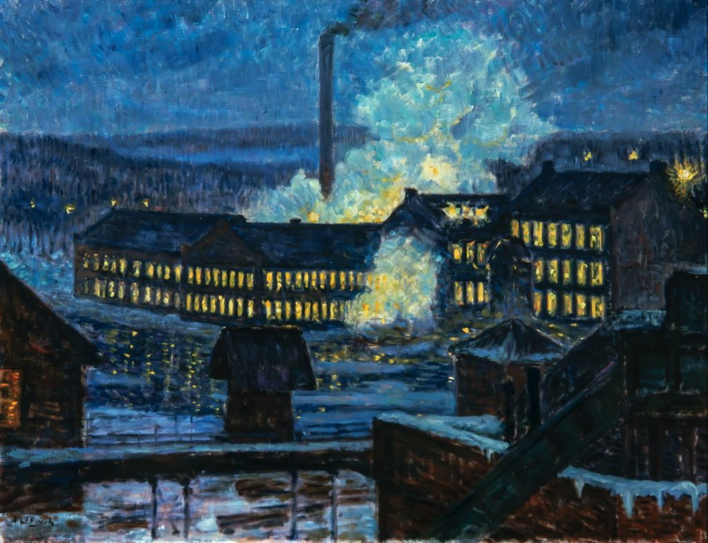 Alfred William Finch, Öinen tehdasnäkymä, 1910-luku, olja på duk, 59 x 79 cm. Bild: Matias Uusikylä.