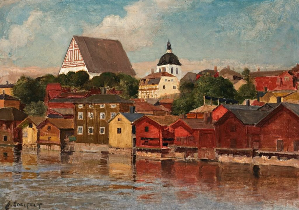 Edelfelt, Albert: River Bank Scene from Porvoo, 1886-1887, oil on canvas
