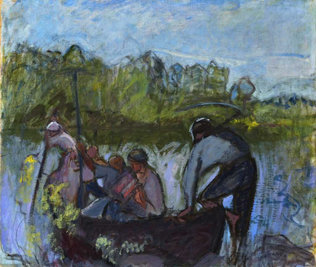 Ellen Thesleff, Elonkorjaajia veneessä II, 1924, öljy kankaalle, 75 x 88 cm. Kuva: Hannu Miettinen.