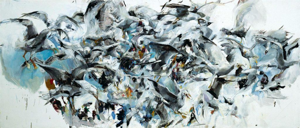 Anna Retulainen, Helsinki-Lahti-Pietari, 2000, öljy kankaalle, 129 x 300 cm.