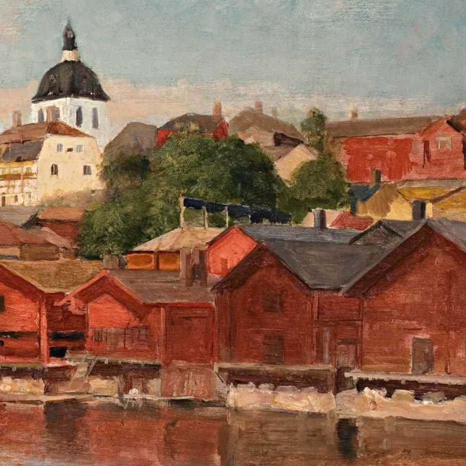 Edelfelt, Albert: Porvoon joenrantanäkymä, öljy kankaalle, 1886-1887
