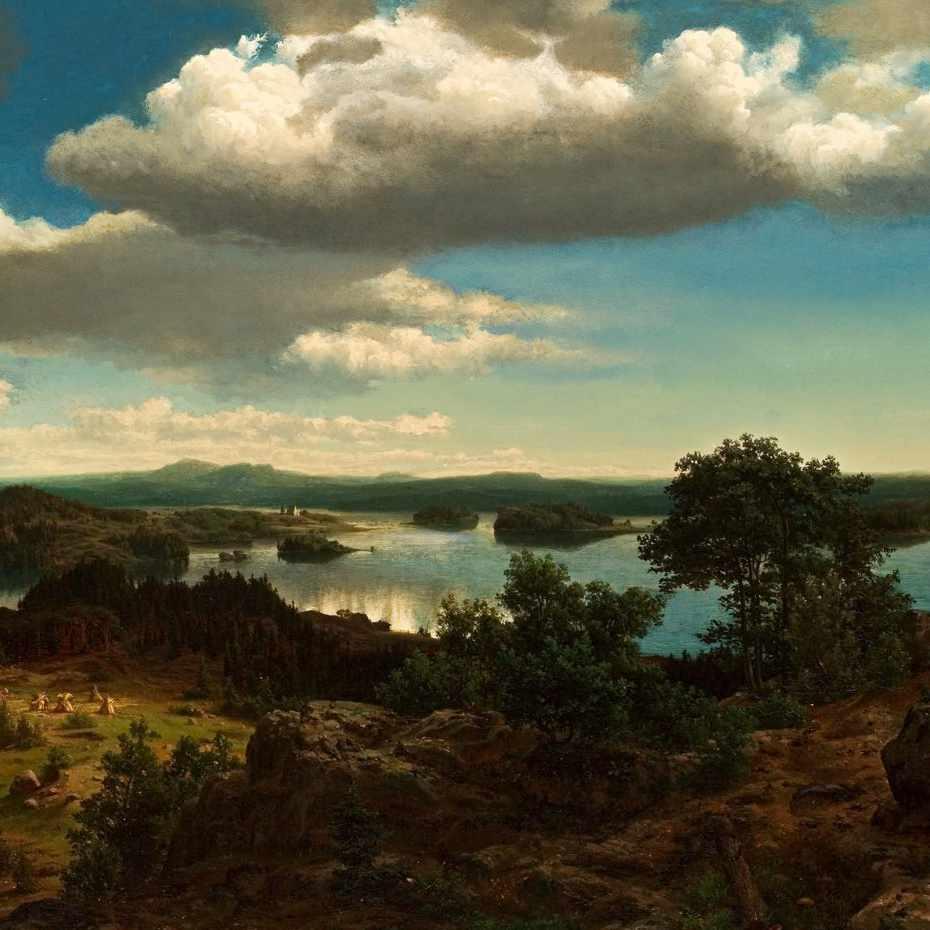 Werner Holmberg, Suomalainen järvimaisema, öljy kankaalle, 1855