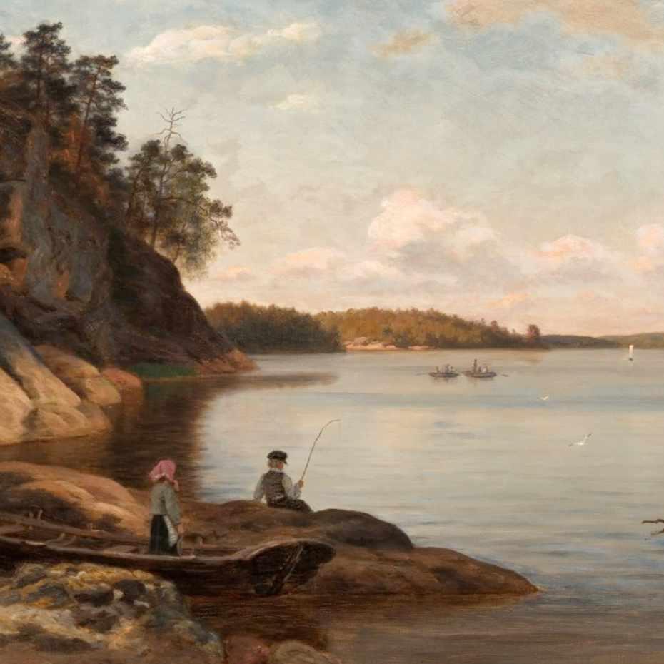 Fredrik Ahlstedt, Saaristomaisema Paraisilta, öljy kankaalle, 1877