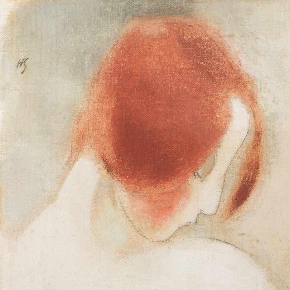 Helene Schjerfbeck, Punainen pää II, 1915, öljy kankaalle, 37,5 x 36,5 cm. Kuva: Jussi Tiainen.