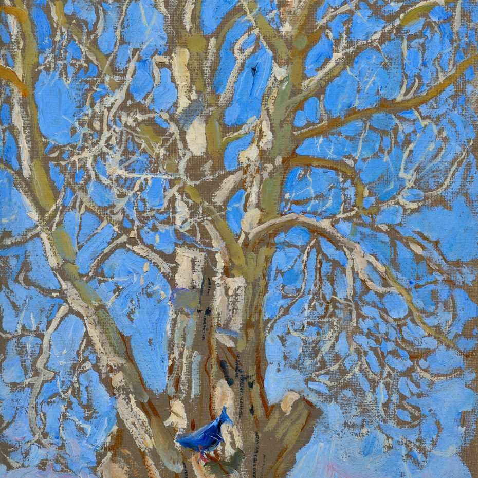 Akseli Gallen-Kallela, Piilipuu ja sininen lintu New Mexicossa, 1925, öljy kankaalle, 25 x 19,5 cm. Kuva: Hannu Miettinen.