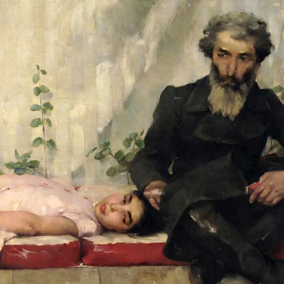 Helene Schjerfbeck (1862-1946). Fête juive (Lehtimajanjuhla), 1883. Öljy kankaalle, 115 x 172 cm. Kuva: Matias Uusikylä.
