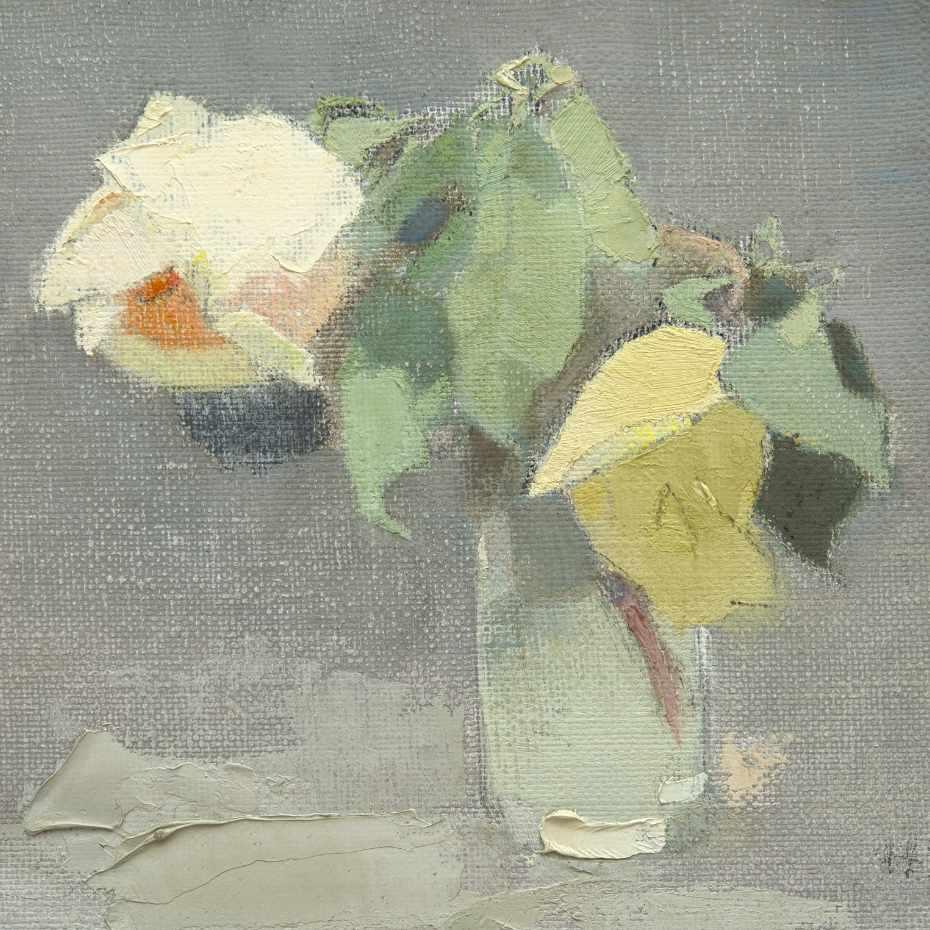 Helene Schjerfbeck (1862-1946). Keltaisia ruusuja, 1942. Öljy kankaalle, 24,5 x 26,5 cm. Kuva: Matias Uusikylä.