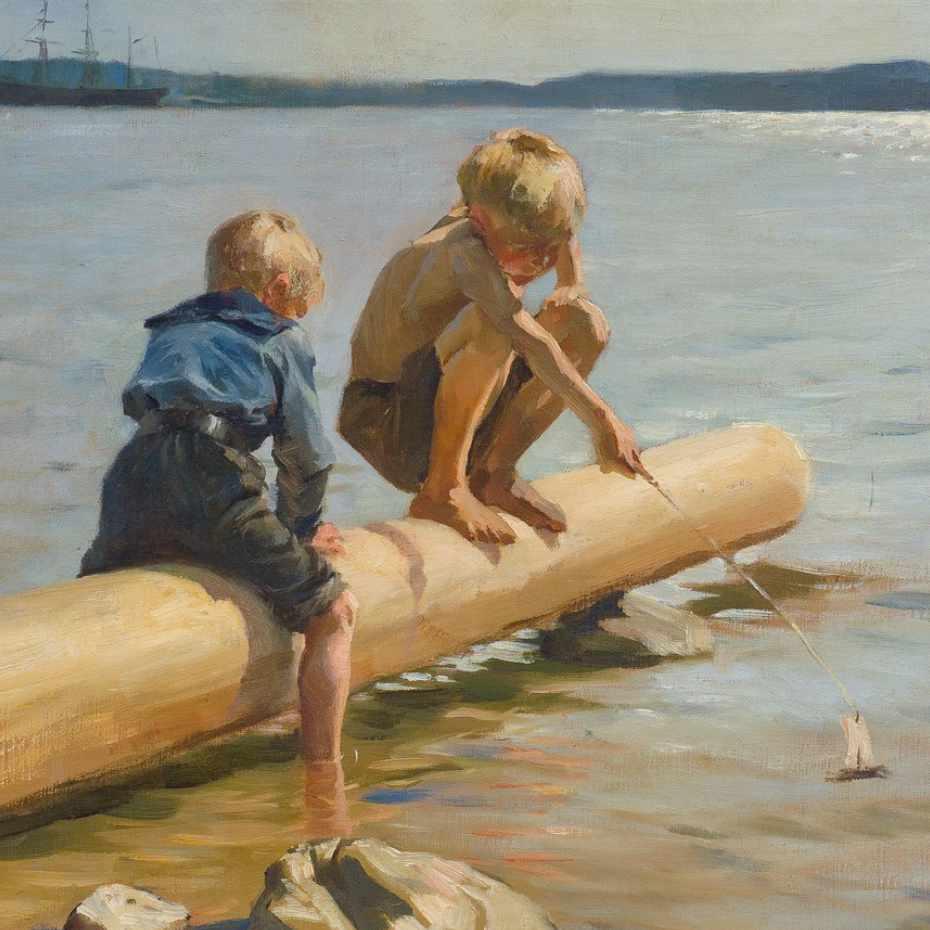 Albert Edelfelt (1854-1905). Leikkiviä poikia, 1884. Öljy kankaalle, 49,5 x 65,5 cm. Kuva: Matias Uusikylä.