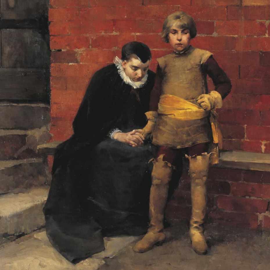 Helene Schjerfbeck, Linköpingin vankilan portailla ovella vuonna 1600, 1882, öljy kankaalle. Kuva: Museokuva Matti Huuhka & co.