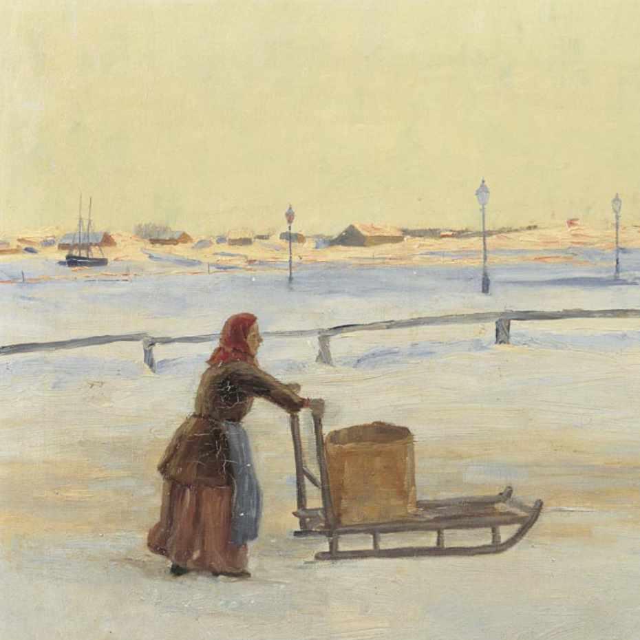Hanna Rönnberg, Talvinen iltapäivä, 1893, öljy kankaalle. Kuva: Museokuva Matti Huuhka & co.