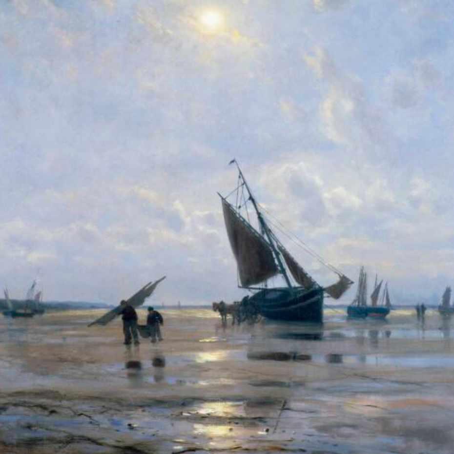 Oscar Kleineh, Kalastajien paluu kuutamolla, öljy kankkalle, 90 x 71 cm.