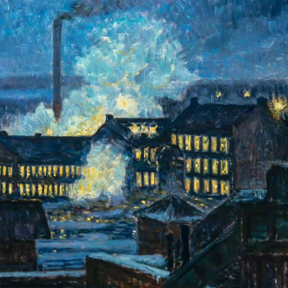 Alfred William Finch, Öinen tehdasnäkymä, 1910-luku, 59 x 79 cm, öljy kankaalle.