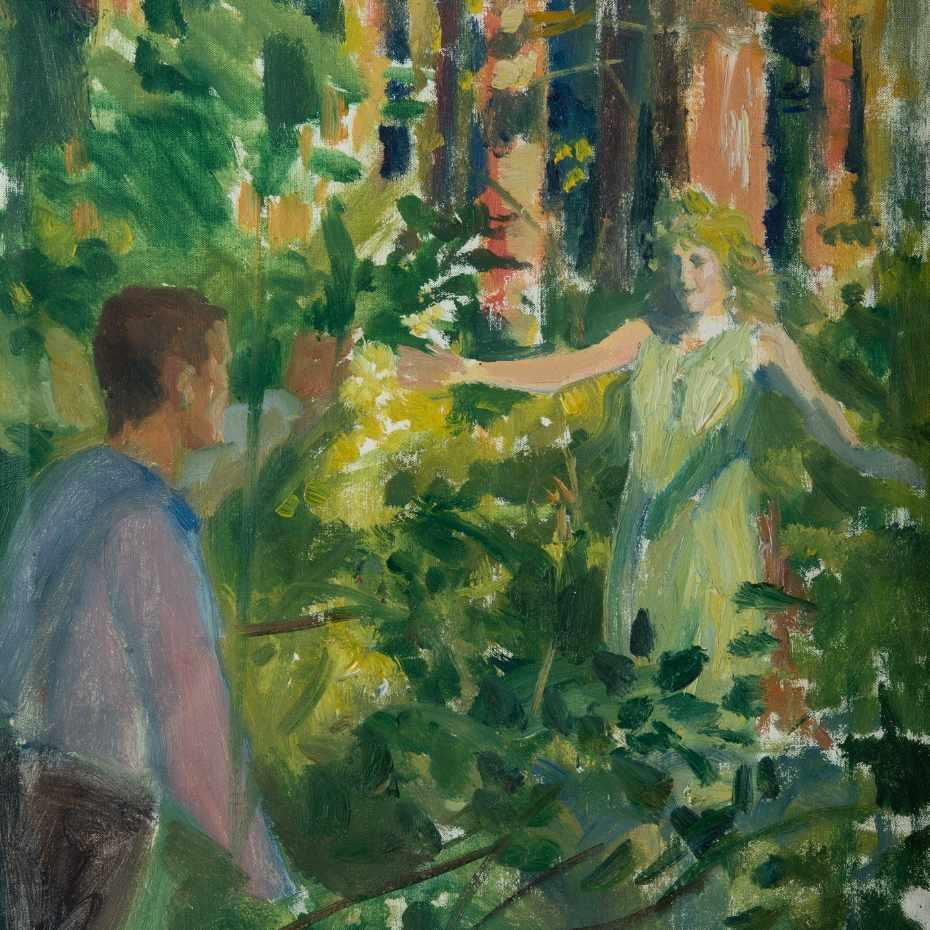 Albert Edelfelt, Metsässä, 1800-luvun loppu, 35 x 31 cm, öljy kankaalle.